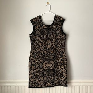 Torrid Lace Like Black Tan Bodycon Party Dress 3X